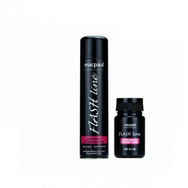 Kit Flash Line Texturizador e Hair spray finalizador macpaul