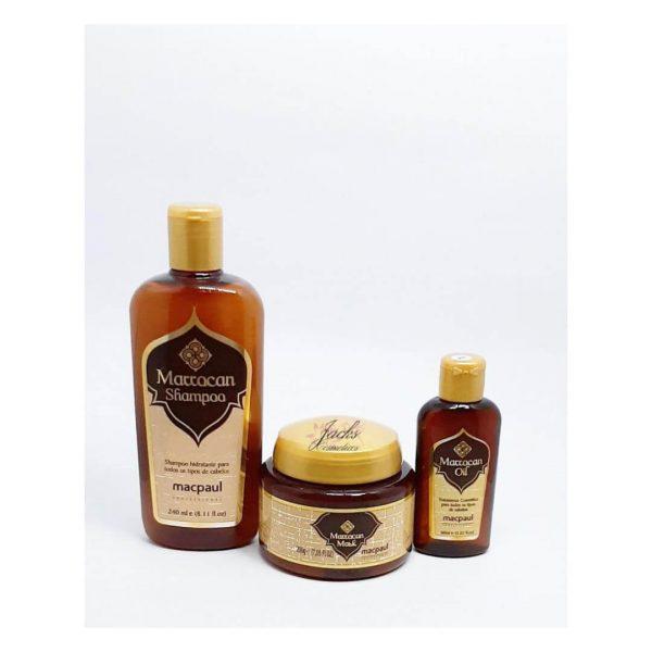 Kit Marrocan Macpaul,Shampoo,mascara e óleo reparador.